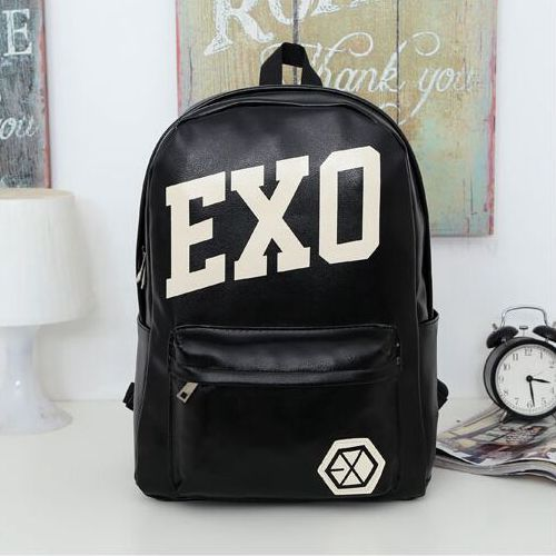 longmiao EXO Backpack Knapsack New Leather Trendy College Backpacks for Teenage Girls School Bag Teenagers EXO Mochila Escolar animelody exo 2015 cos backpack 150110
