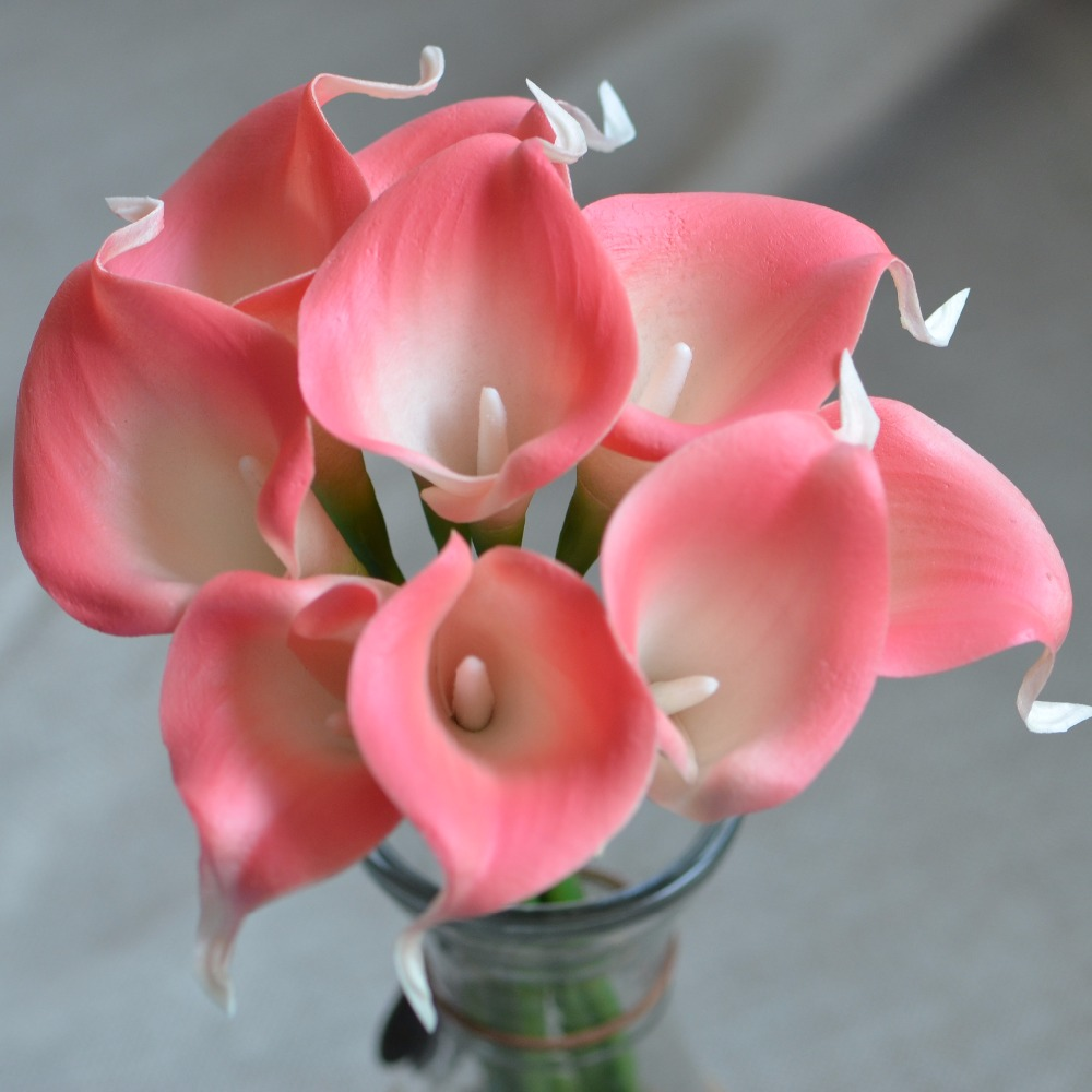 Pink Coral Calla Lilies Real Touch Flowers For Silk Wedding Bouquets