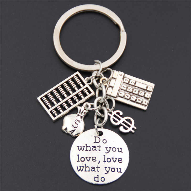 "1pc Antique Silver ""Do What You Love, love what You Do ""Accountant พวงกุญแจ Bookkeeper Key Chains เครื่องประดับ"