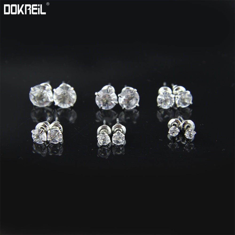 6 Pair Set Round Cut CZ Stud Earrings Clear Cubic Zirconia Ear Studs Simulated Diamonds Prong Setting Luxury Vintage Earing 2019