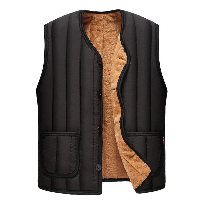 Winter Vests Sleeveless Jackets Warm Thicker Waistcoat Bodywarmer Casual Men Windproof Wool Fleece Fur Vest Single Breasted Coat(China)