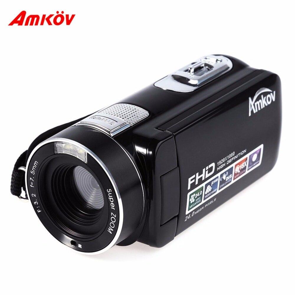 AMKOV appareils photo numériques 2.7 pouces DV caméra vidéo professionnelle HD 720 P FHD1920X1080 24MP appareil photo avec 8 scènes modèle
