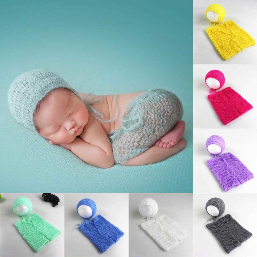 Newborn Baby Photography Props Accessories Hand Crochet Mohair Hat Clothes Baby Photo Accessory Photography Clothing Fotografia