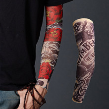 1Pair Nylon Fake Temporary Tattoo Sleeves Arm Stockings Bicycle Elastic Compression Arm Warmer For Men Women New Arrival 2019 2019 new 1 x fake nylon adult temporary tattoo sleeves arm warmer temporary tattoo sleeve nylon arm warmer