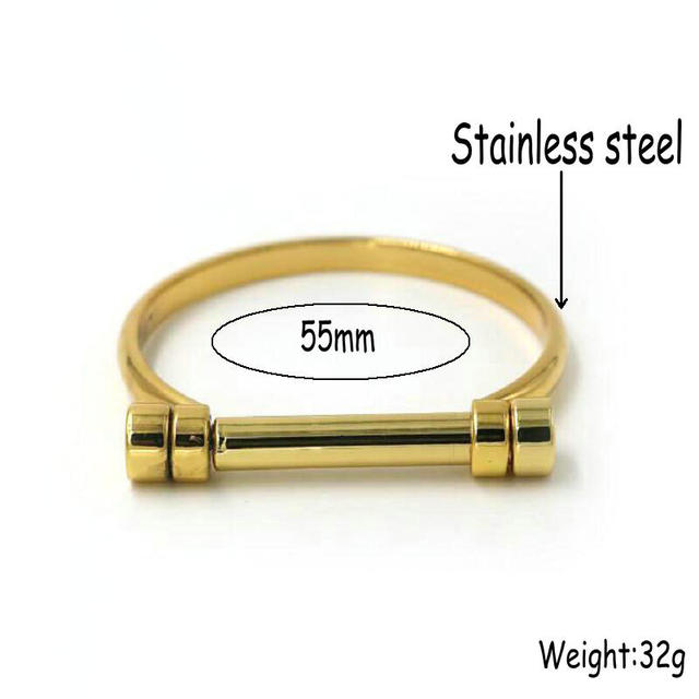 ANILLO Gold Color Stainless Steel Cuff Bangle
