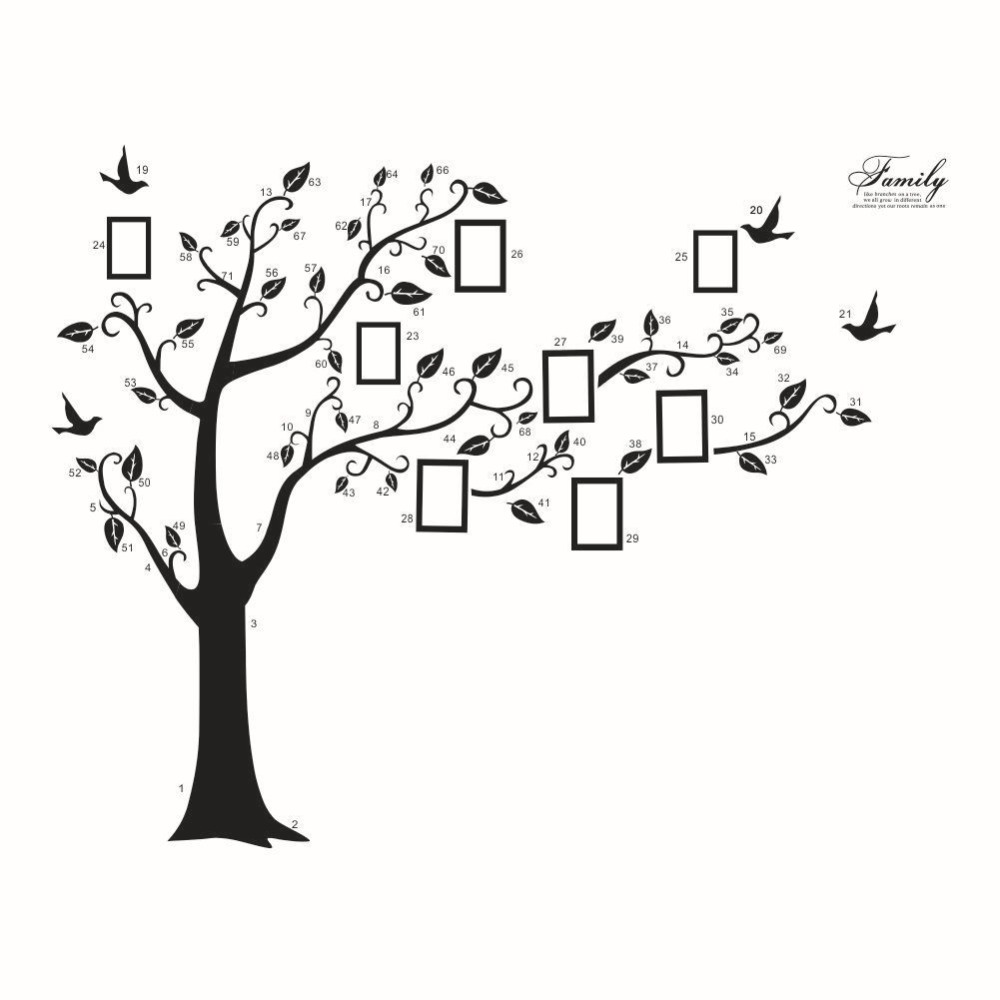ZY94AB Big Family Tree Wall Sticker Self Adhesive Home Decor Removable Black Photo Frame Tree PVC Wall Art Mural Stickers Decal
