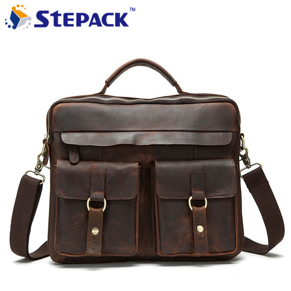 2016 Brand New Genuine Leather Men Bag Vintage Crazy Horse Leather Men Hangbag Business Bag Shoulder Bag Messenger Bag WMB0106 new men s crazy horse genuine leather messenger shoulder pack documents business portable clutch bag portable wrist bag