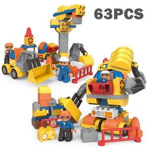 Image 4 - Big Size Stad Bouw Diy Graafmachine Voertuigen Bulldoze Robot Cijfers Bouwstenen Compatibel Duploed Baksteen Kinderen Speelgoed Gift