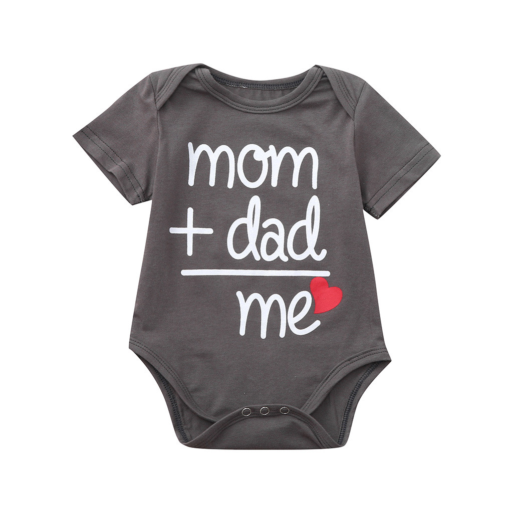 Mum+Dad=Love Me Toddler Newborn Baby Girls Boys Letter Printed Tops Bodysuit Clothes