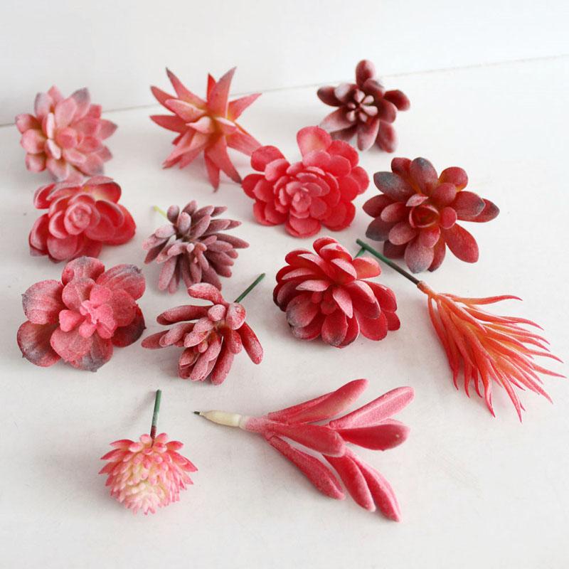 arreglo de flores de plstico mini planta suculenta rojo fiesta de bodas en casa