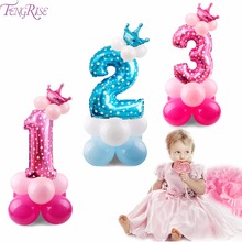 FENGRISE Pink Crown Digit 0-9 Number Ballon Happy Birthday Balloons Baloon 1st Party Decorations Kids Babyshower Favors