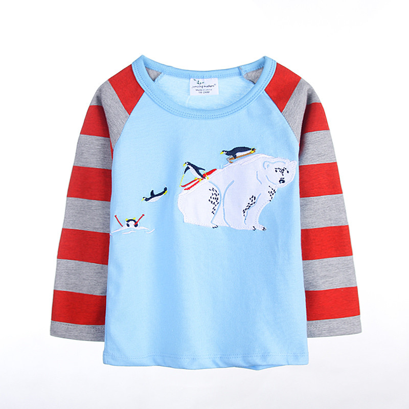 2018 new designed t shirt baby boys striped long sleeve cartoon t shirt with applique a truck kids spring autumn boy clothes lace panel long raglan sleeve striped t shirt