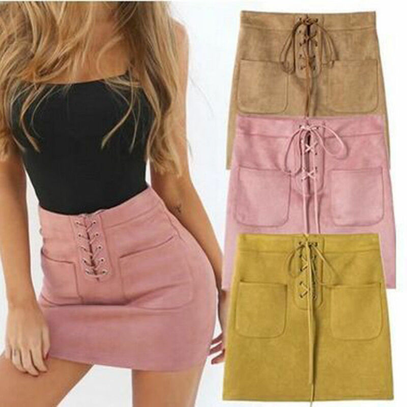 Fashion Sexy Women Solid Pink Yellow Khaki Leather Suede Lace Up Bandage High Waist Party Pencil Mini Skirt Sale