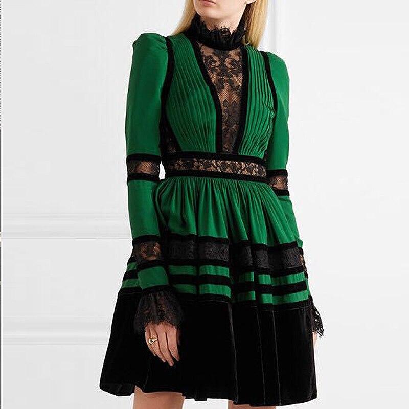 XF nouveau magasin spécial haute qualité créateur de mode piste automne robe plissée femmes à manches longues velours Vintage dentelle robe