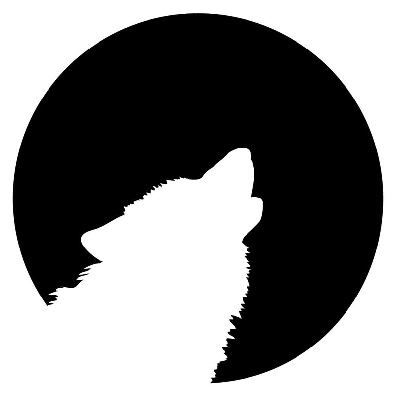 12.7*12.7CM Wolf Howling To The Moon Funny Car Stickers Vinyl Waterproof Hunting Decal Black/Silver S1-2286