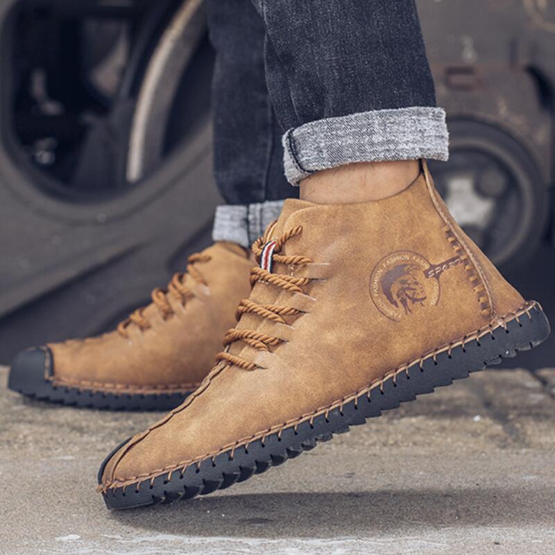 6016khaki Vintage Zapatos En Main D'hiver Pour Hombre Chaude Cuir Sport Hombretailor Bottes 6016yellow Sneakers Chaussures Appartements Botas 6016black Hommes De fg6wq4Tzxw