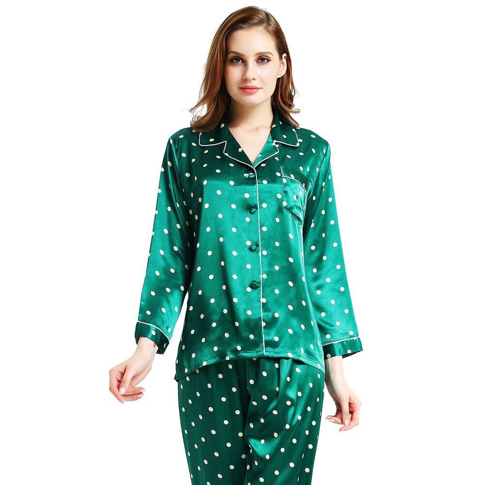 Damska Silk Satin Piżama Set Piżamy Piżamy Zestaw Piżamy Loungewear S, M, L, XL, 2XL, 3XL Plus