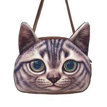 Femmes Sac À Main Bandoulière sac 2015 Nouveau meow étoiles Satchel Modélisation de la tête de chat 3D chatte Impression Mignon D'épaule Sac