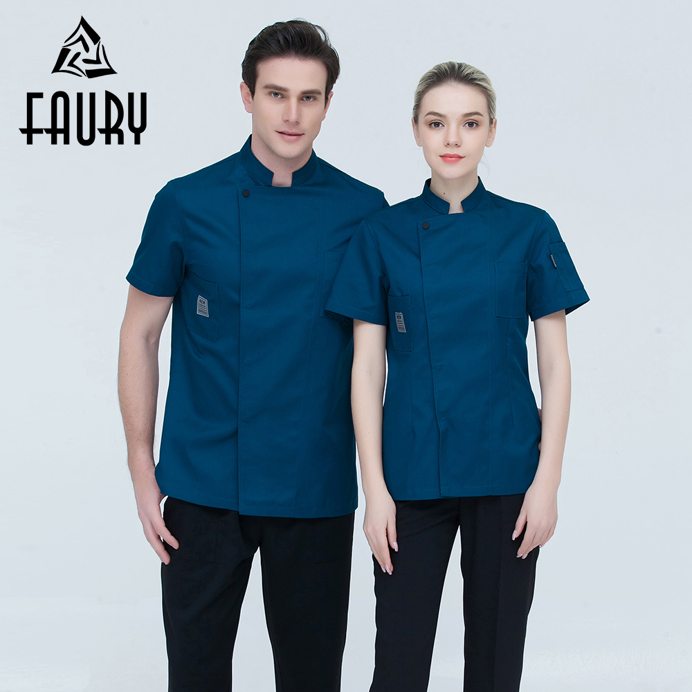 Unisex Stand Collar Single Breasted Summer Short Sleeve Chef Kitchen Work Wear Casual Breathable Restaurant Catering Uniforms