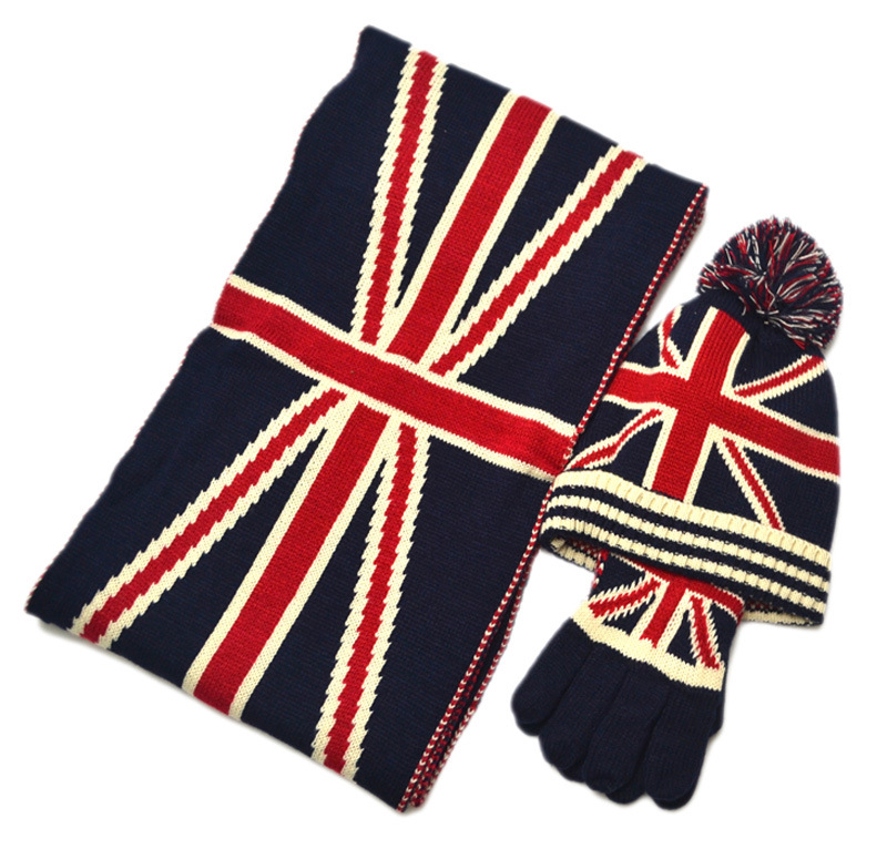 Hat Autumn Winter New Star Rice Flag Adult Scarf Three Sets Of Children  (hat Scarf Gloves)