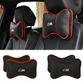 M LOGO  Leather Car Headrest Pillow  Seat Covers Head Neck Rest Cushion Headrest Pillow Pad for BMW E30 E34 E39 E46 E60 E90 F10