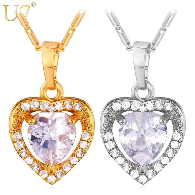 U7 amor del corazón de cristal collar de mujer regalo de la joyería de plata/col