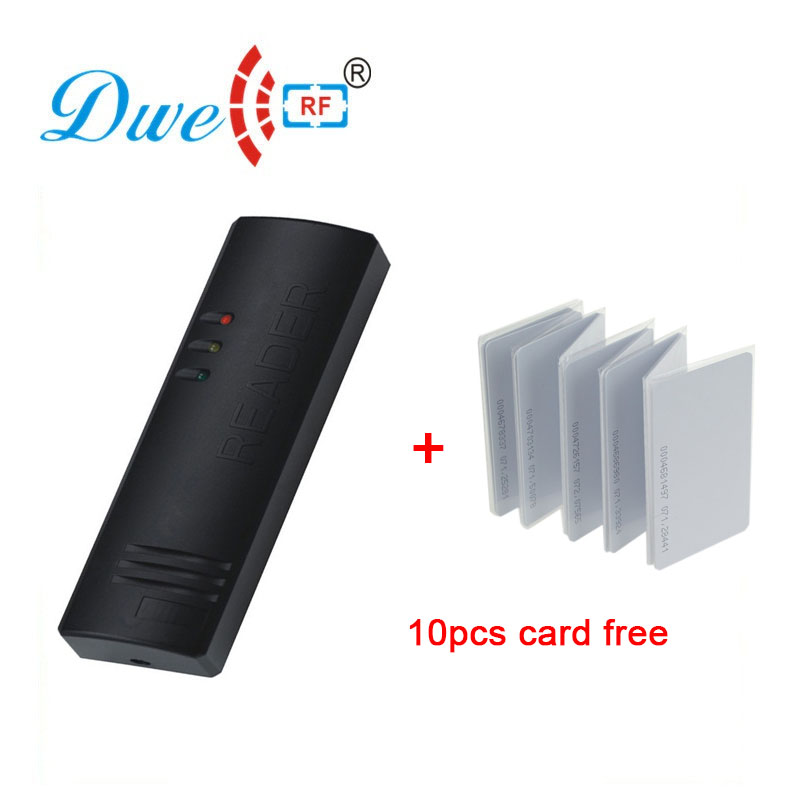 Security rfid card access control system ID/IC contactless smart card reader with 10pcs card free outdoor mf 13 56mhz weigand 26 door access control rfid card reader with two led lights