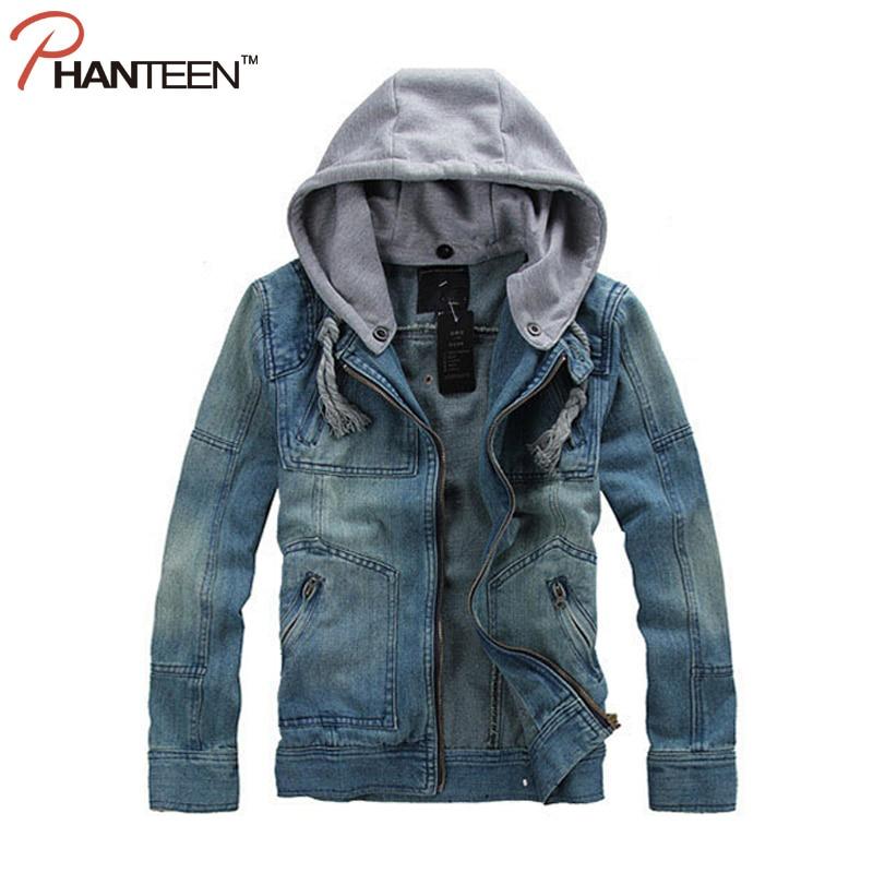 4350f5b27db5 Moda Style Con Staccabile Vintage Cowboy Jeans Phanteen Abbigliamento  Cappuccio Giacche Uomo Street Di Marca Tuta ...