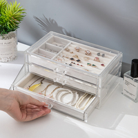 Multilayer Jewelry Organizer Box Transparent Plastic Jewerly Box Organizer For Rings/Necklace/Watches