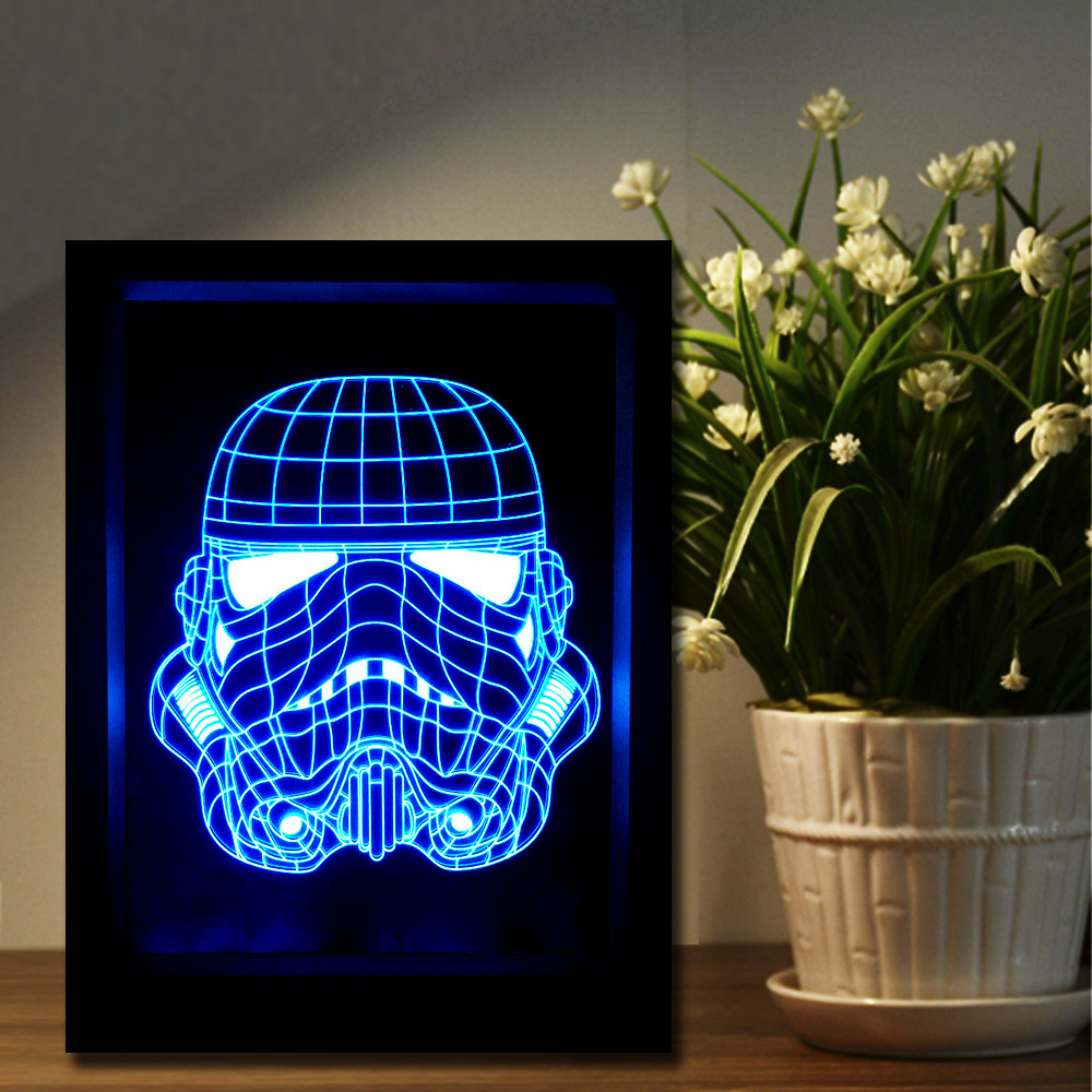 The Soldiers 3D Photo Frame Lamp 7 Color Change Night Light Creative Touch Remote Control Lamp USB LED Gradient Illusion Light easter gift remote control led color change night light