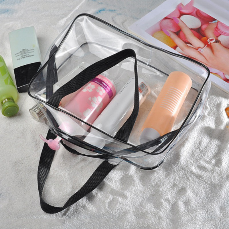Transparent Waterproof Swimming Bags Sports Travel Bathing Storage Bag Zipper Clear PVC Organizer Phone Pocket Cosmetic Bag