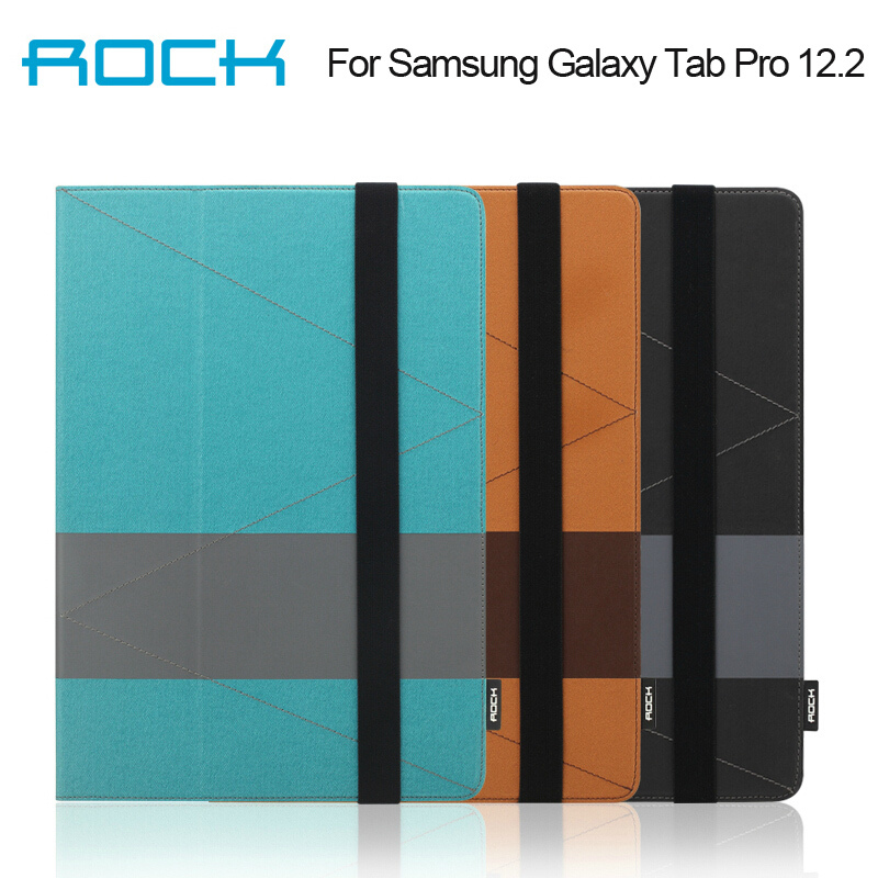 For Samsung Galaxy Tab Pro 12.2 leather case Rock Shuttle Series Sleep And Wake Up Function Two Fold Stand Leather Case