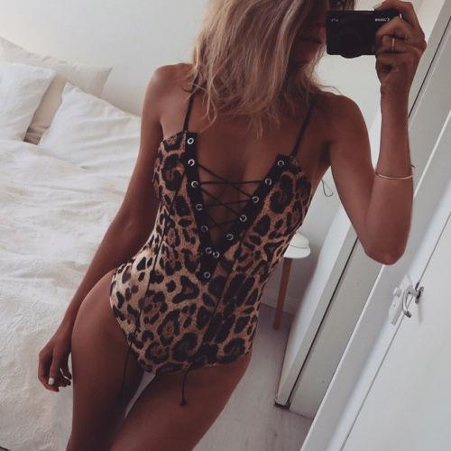 2017 New Single Breasted Slim Body Suit Sexy Combinaison Femme Buttons Womens Jumpsuit Leopard Bodysuit For Women