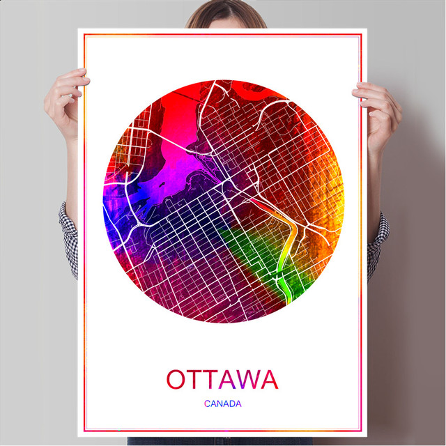 Ottawa canada world famous city map print poster print on paper or canvas wall sticker bar
