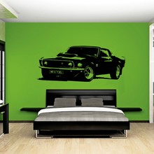 Handsome Removable Vintage Large Car Ford Mustang 1969 Wall Art Decal Sticker Home Decoration Mural Paper W-925