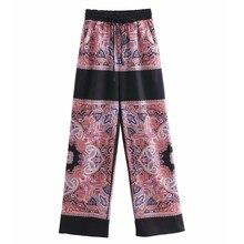 a234915da5df0 Women Vintage totem floral print wide leg pants retro chic elastic waist  lace up Trousers patchwork pantalones mujer pants P287
