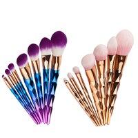 Faylisvow 7pcs Diamond Professional Mermaid Makeup Brushes Colorful Makeup Brushes Kit Contouring Foundation Eyeliner Brush