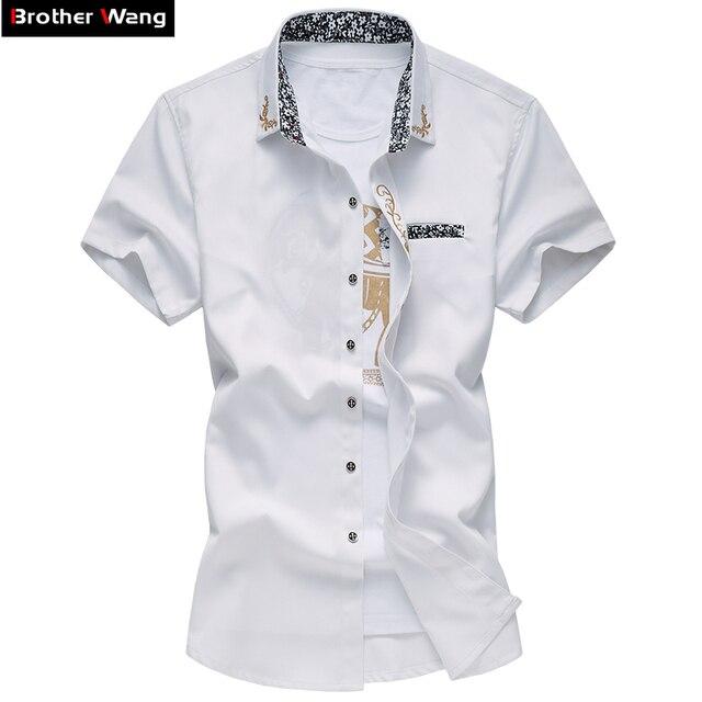 Hermano Wang 2017 nuevos modelos Personalizados bordado hombres de Marca de manga corta camisa de Moda casual color sólido camisa 6XL 7XL