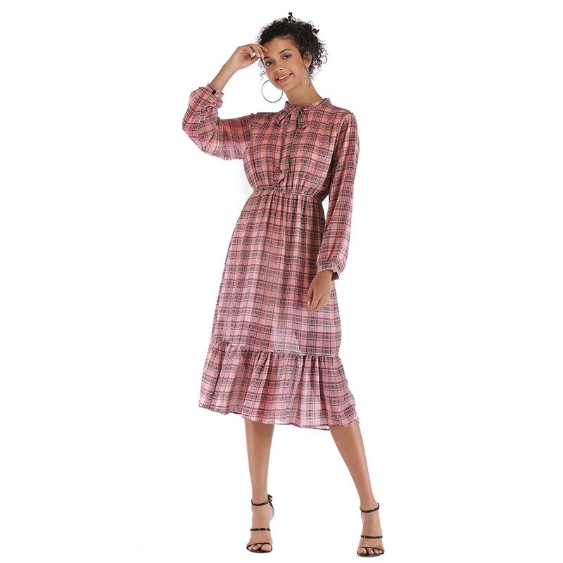 8c4dbd72291 платье женское весна 2019 сарафан женский летний платья больших размеров  шифоновое платье в клетку летние платья