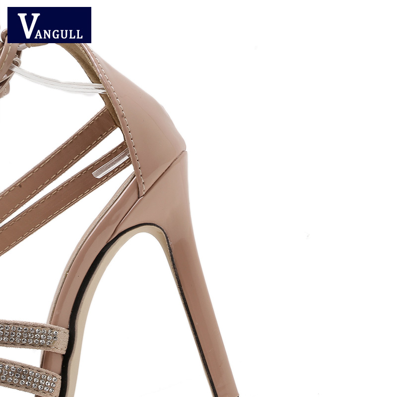 Vangull Women Sandals Crystal High Heels 2019 New Summer Ankle Strap ... 7dd10069489c