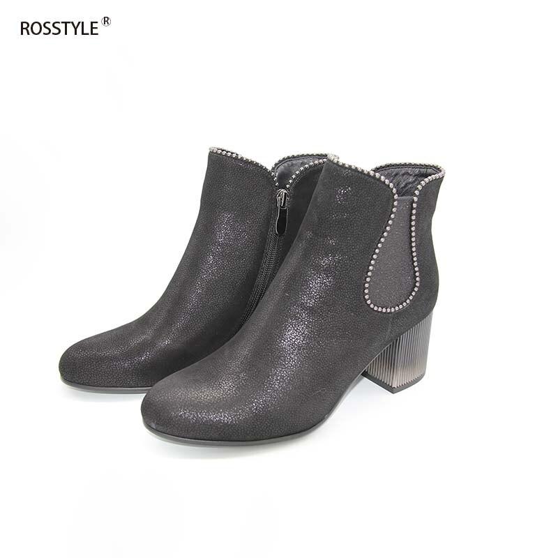 Rosstyle стильный гальванизирует лазерной резьбы ботильоны женщин ослепить металл цвет высокий каблук овчины обувь обирали типа молния