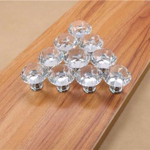 AOTU 1pack/10 Pcs 30mm Diamond Shape Crystal Glass Drawer Cabinet Knob Pull Handle Kitchen Door Wardrobe Hardware Furniture