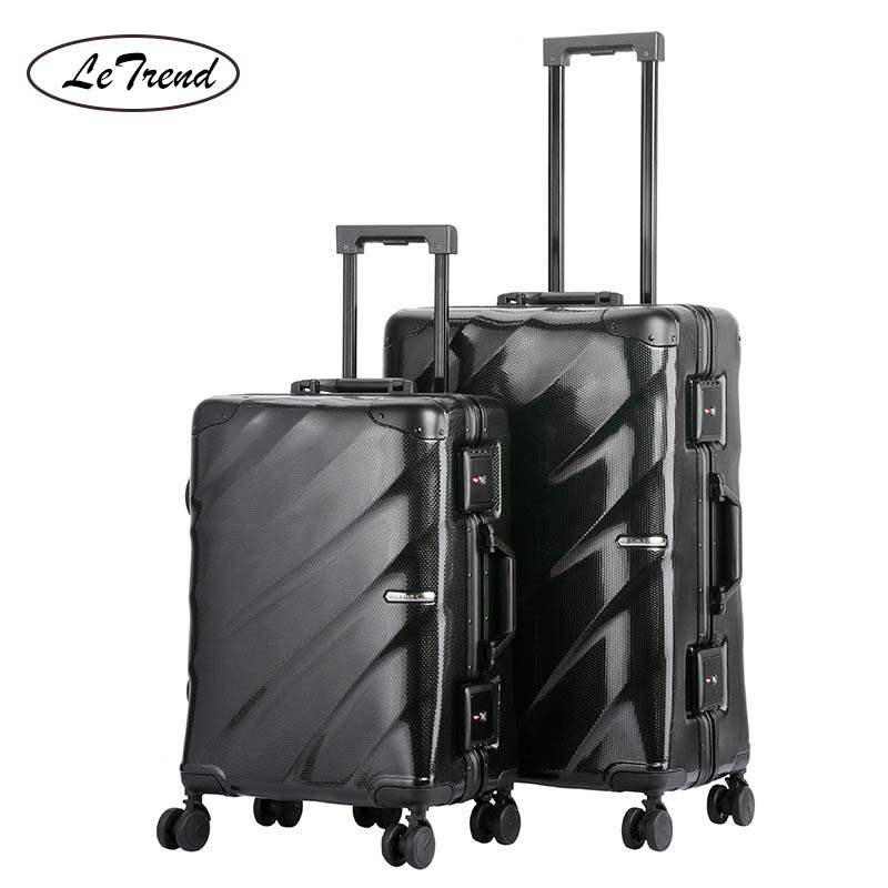 LeTrend Fashion Aluminum Frame Rolling Luggage Spinner Men Business password Suitcase Wheels 20 inch Women Carry