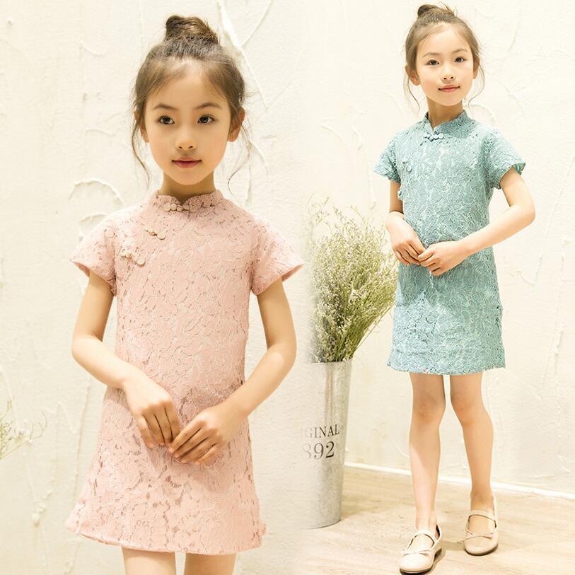 Floral Bebê Vestido Da Menina-Chi Pao Qipao Cheongsam Chinês Do Presente Do Natal Dos Miúdos Vestidos de Renda roupas Meninas Vestido De Princesa Casamento