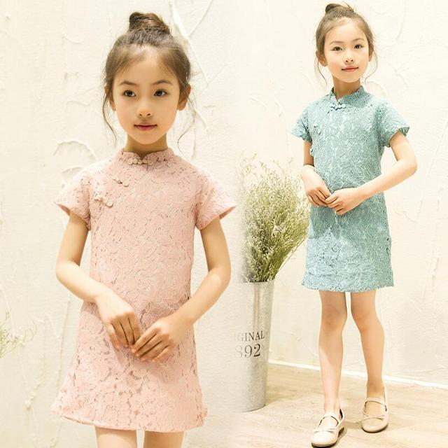Floral Baby Qipao Girl Dress Chi-Pao Cheongsam Christmas Gift Chinese Kids Lace Dresses Girls clothing Wedding Princess Dress