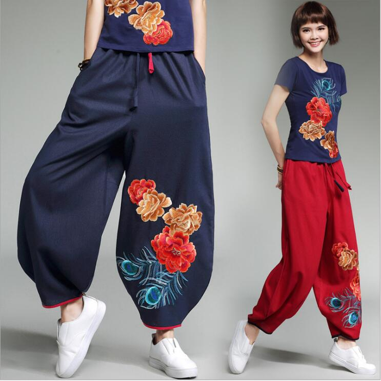 National wind cotton lantern   wide     leg     pants   2017 spring and summer loose large size embroidered casual   pants   female