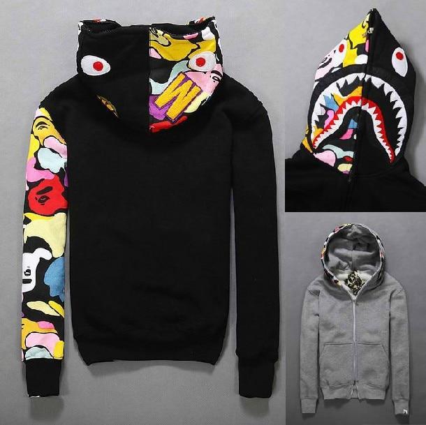 Hip Hop Men s bape shark hoodies Autumn Fleece hoody bape jacket men  windbreake bomber jacket hombre hoodie plus size 110 ba60dc8ffb00