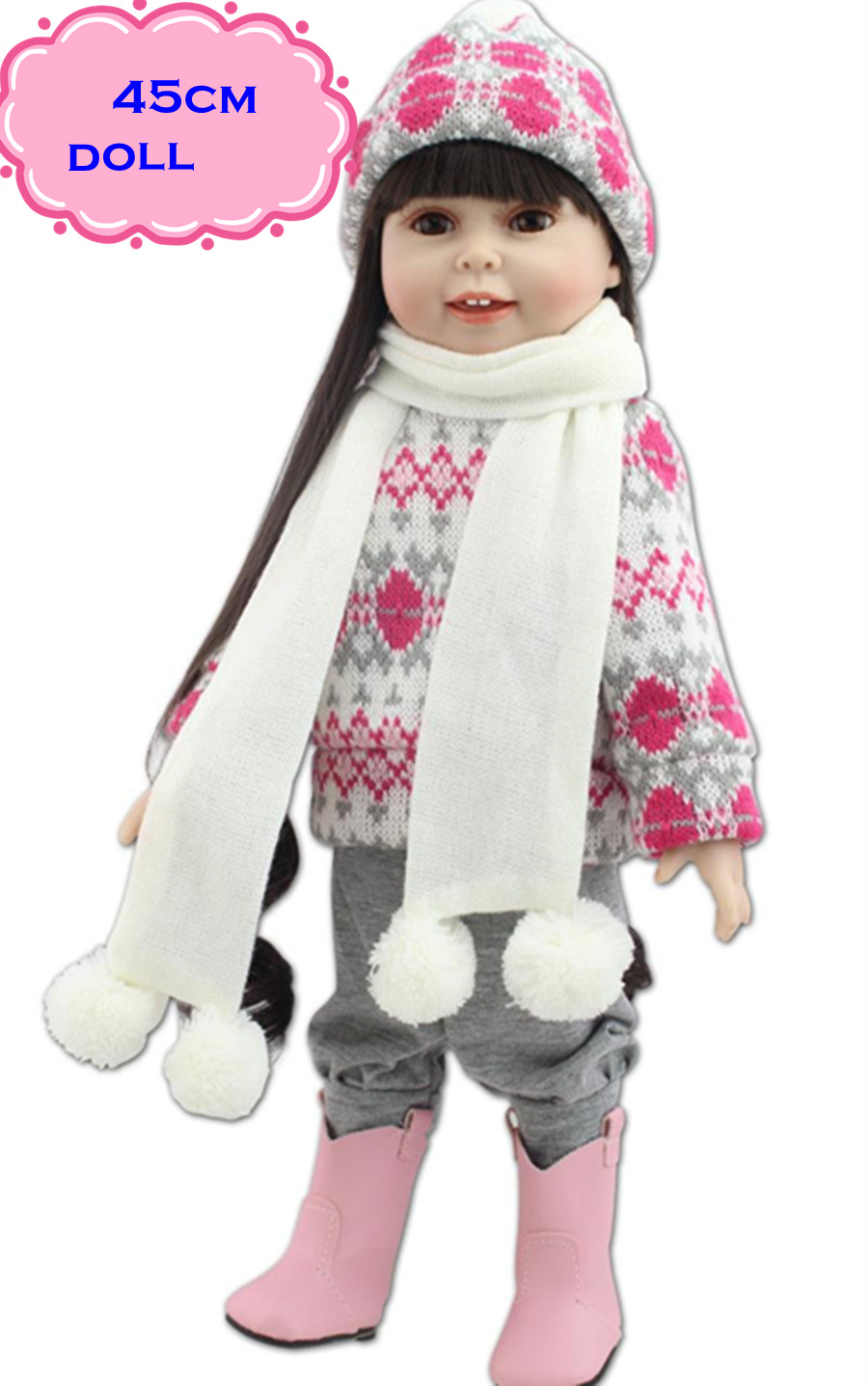 ФОТО New NPK Full Vinyl Silicone Reborn American Girl Doll About 18inch Lovely Reborn Dolls Babies In Winter Clothes For Girls Gifts