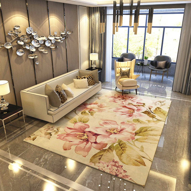 American Style Flower Carpets For Living Room Romantic