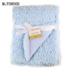 MOTOHOOD Rose Velvet Baby Blanket Baby Swaddle Wrap Swaddling Winter Warm Brand Bedding Soft Infant Crochet Blanket 76*102cm(China)